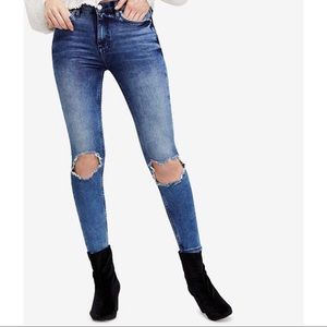 Free People Buster Knee Skinny Jeans - Blue